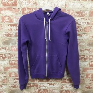 Purple American Apparel zip up hoodie